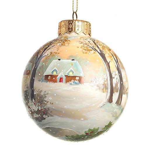Елочный шар FaVareli Happy Holidays с ручной росписью, фото
