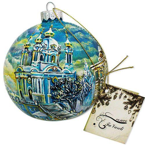 Елочный шар FaVareli Андреевская церковь в снегу с ручной росписью, фото