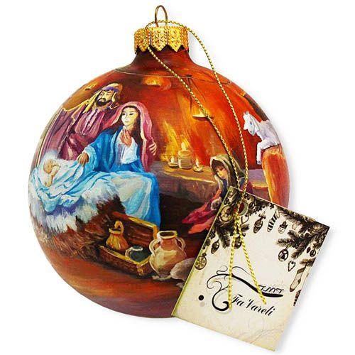 Елочный шар FaVareli Сочельник с ручной росписью, фото