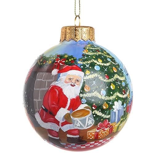 Елочный шар FaVareli Печенье для Санты с ручной росписью, фото