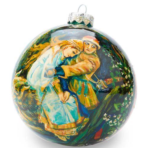 Елочный шар FaVareli репродукция картины Васнецова с ручной росписью, фото
