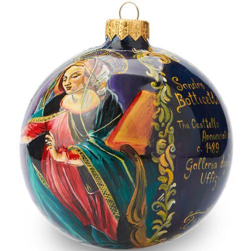 Елочный шар FaVareli репродукция картины Ботичелли с ручной росписью, фото