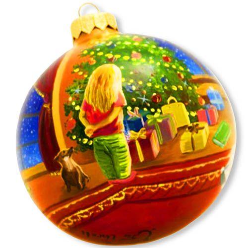 Елочный шар FaVareli Предпраздничное убранство с ручной росписью, фото