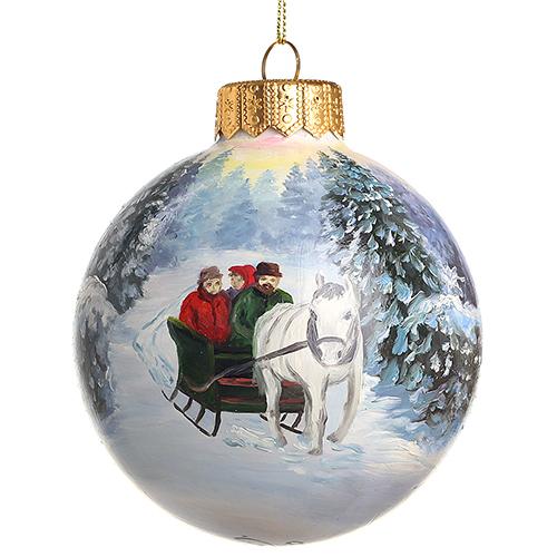 Елочный шар FaVareli Мы спешим на Новый Год с ручной росписью, фото