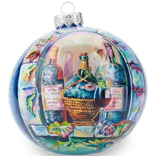Елочный шар FaVareli Виноградная лоза с ручной росписью, фото