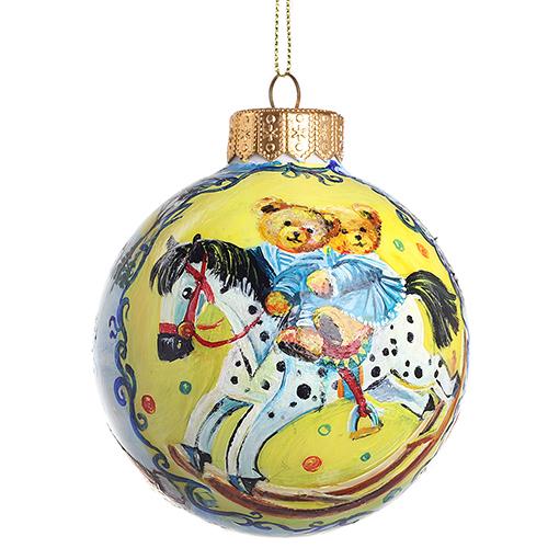 Елочный шар FaVareli Новогодний вечерок с ручной росписью, фото
