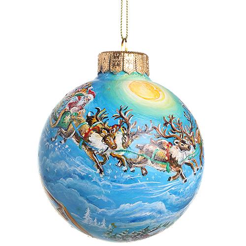 Елочный шар FaVareli Новый год спешит с ручной росписью, фото