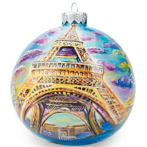 Елочный шар FaVareli Париж с ручной росписью, фото