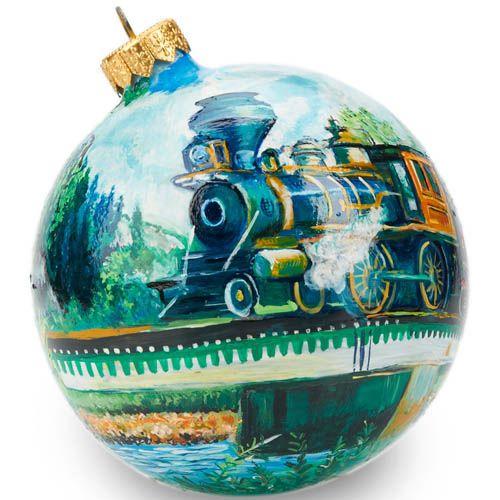 Елочный шар FaVareli Паровозы 1 с ручной росписью, фото