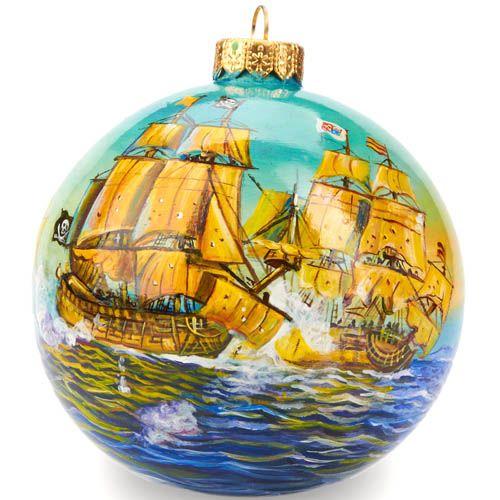 Елочный шар FaVareli Корабли 2 с ручной росписью, фото