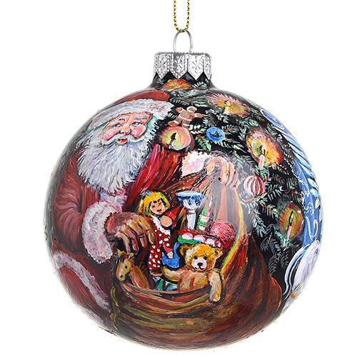 Елочный шар FaVareli Дедушка Мороз и ангелы с ручной росписью, фото