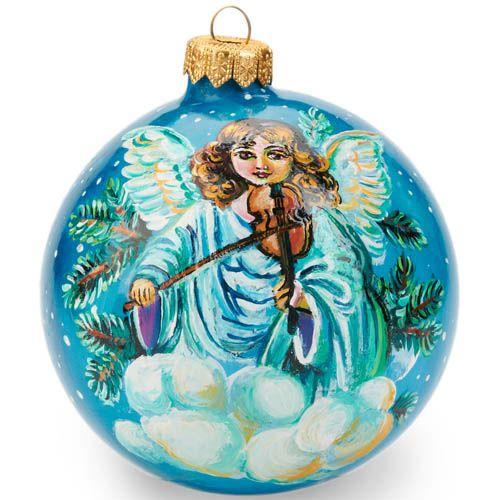 Елочный шар FaVareli Добрый Санта с ручной росписью, фото