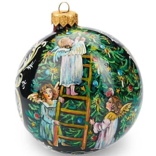 Елочный шар FaVareli Дедушка Мороз с котенком с ручной росписью, фото