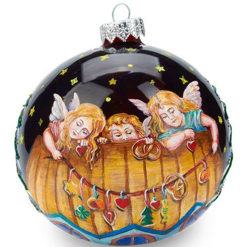 Елочный шар FaVareli Ангелы счастья с ручной росписью, фото
