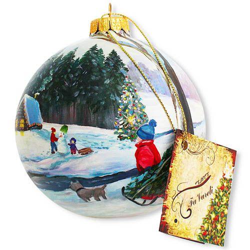 Елочный шар FaVareli Зимние забавы с ручной росписью, фото