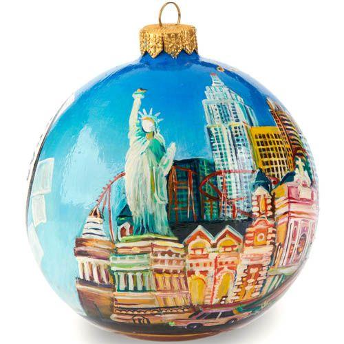 Елочный шар FaVareli Лас-Вегас с ручной росписью, фото
