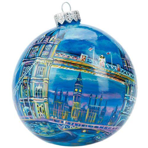 Елочный шар FaVareli Лондон с ручной росписью, фото