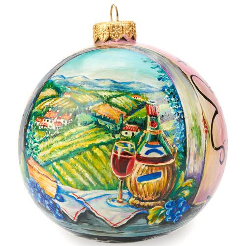 Елочный шар FaVareli Истина в вине с ручной росписью, фото
