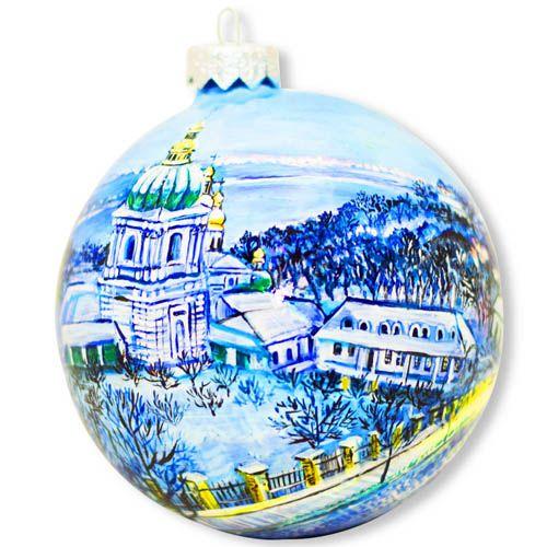Елочный шар FaVareli Зимняя Лавра с ручной росписью, фото