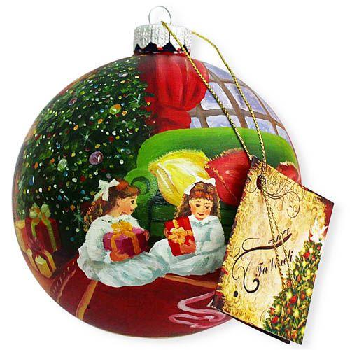 Елочный шар FaVareli Подружки с ручной росписью, фото