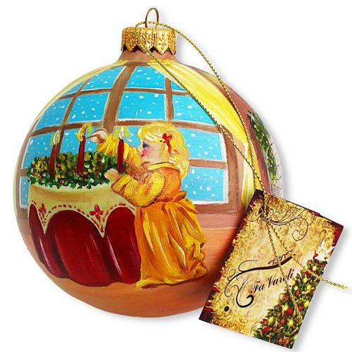 Елочный шар FaVareli Загадывая желания с ручной росписью, фото