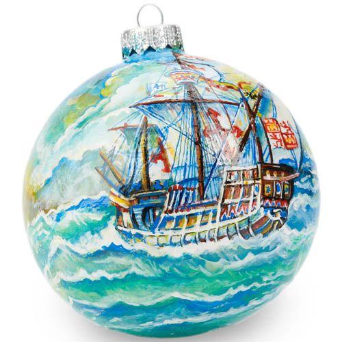 Елочный шар FaVareli Корабли 1 с ручной росписью, фото