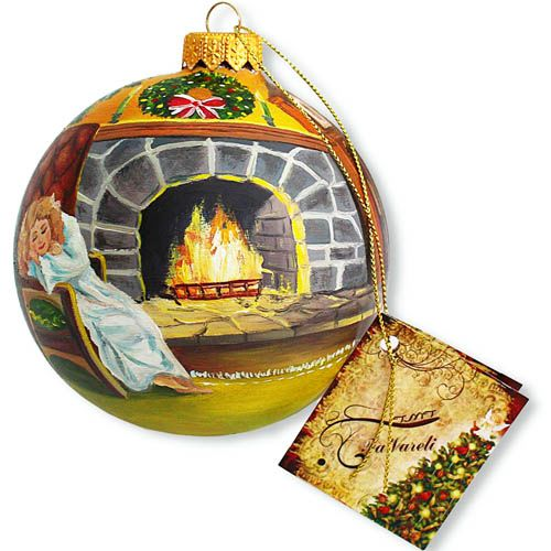 Елочный шар FaVareli Загадочный Санта с ручной росписью, фото