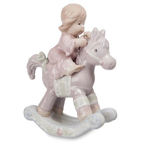 Фигурка Pavone JP Девочка на лошадке розовая, фото