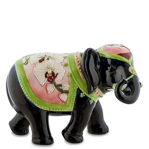 Статуэтка Pavone JP Design Слон с розово-зеленой накидкой, фото