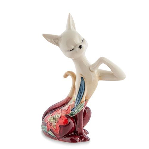 Статуэтка Pavone JP Design Кошка с яркой цветочной росписью, фото