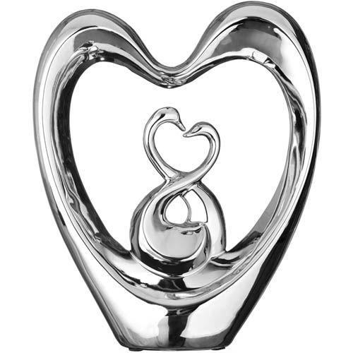 Серебристая фигурка Eterna два лебедя в сердце, фото
