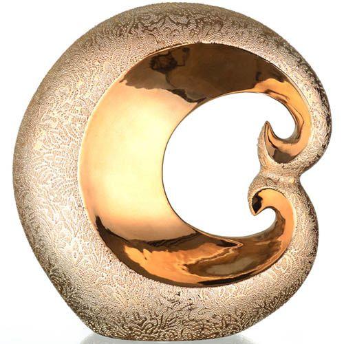 Золотистый декор Eterna Восточный шелк с изящным узором 31 см, фото
