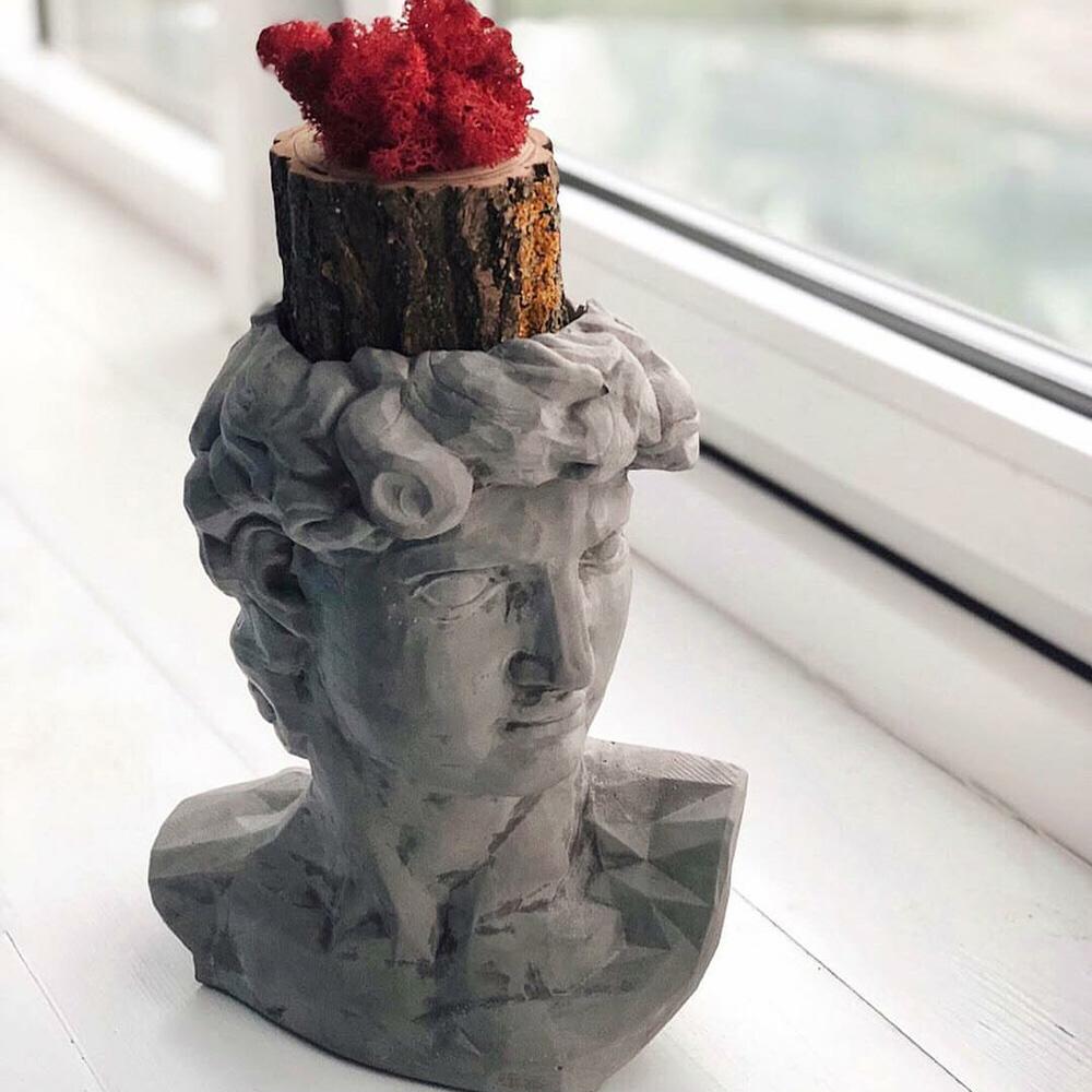 Ваза-органайзер Vase Head Давид серого цвета