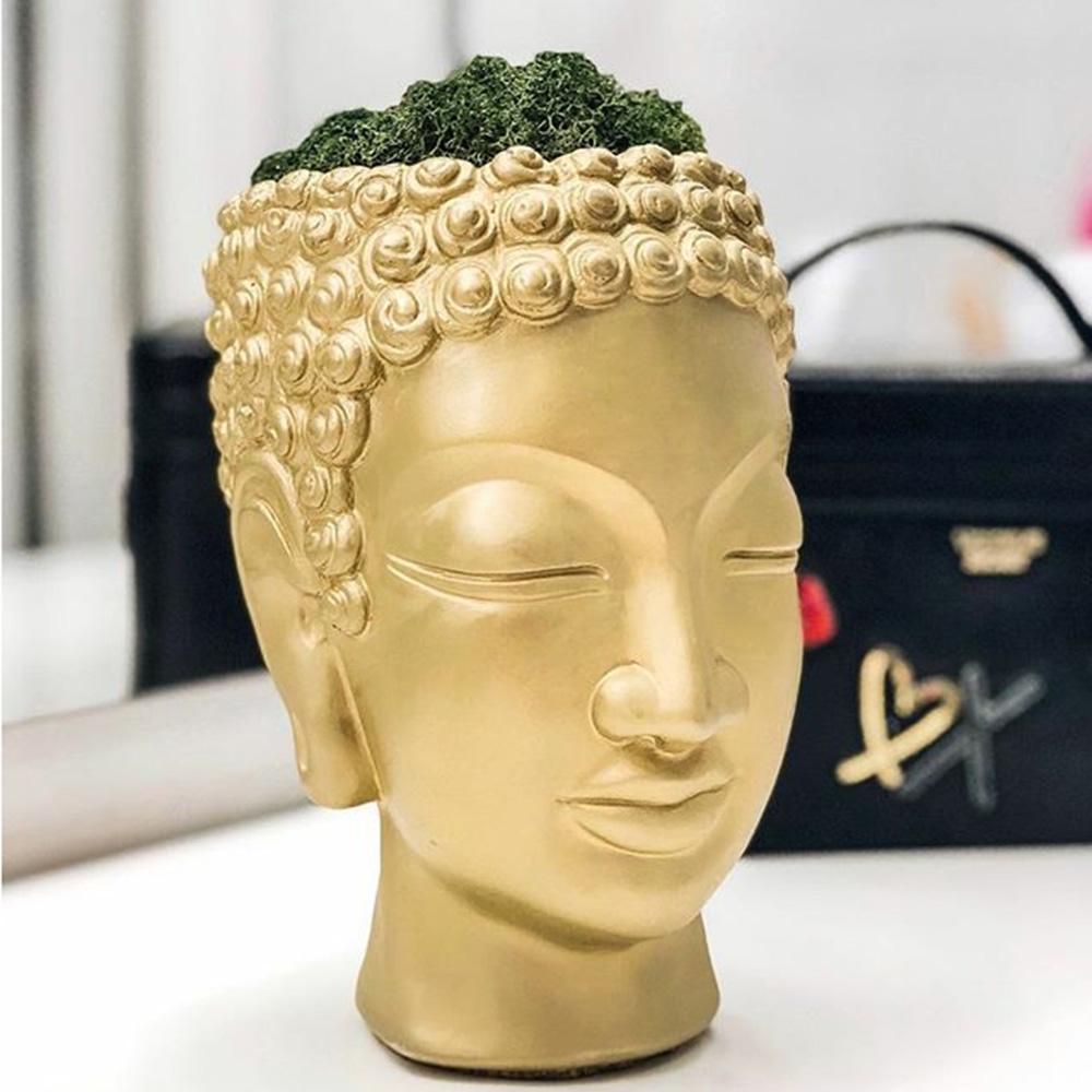 Декоративная ваза-органайзер Vase Head Будда золотистого цвета