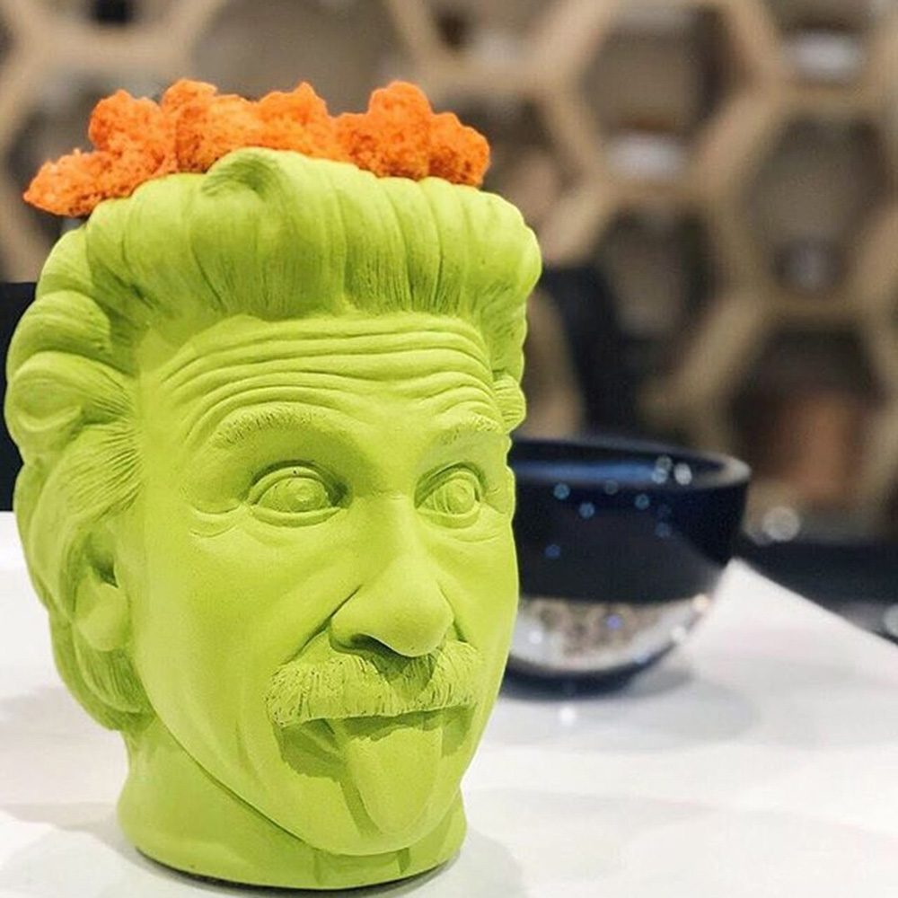 Ваза-органайзер Vase Head Эйнштейн салатового цвета
