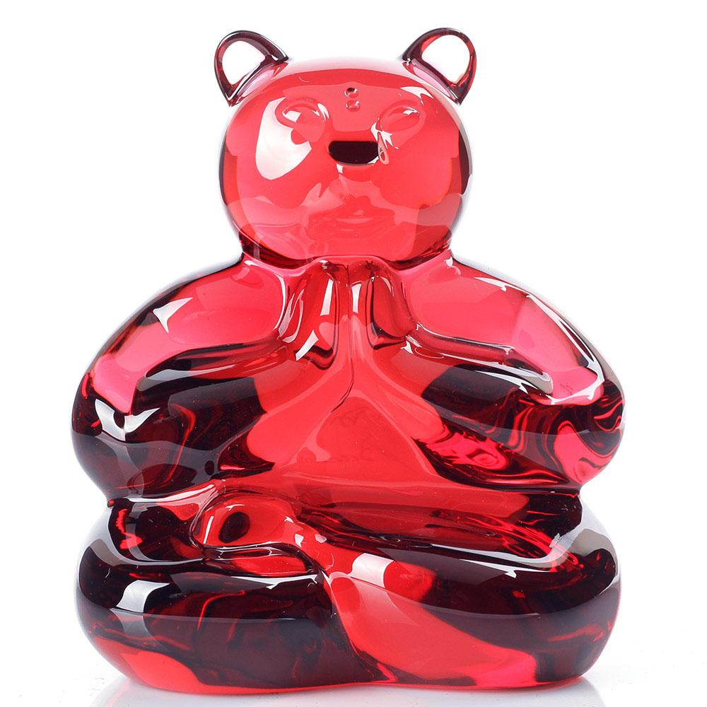 Красная фигурка Baccarat Любящий медведь