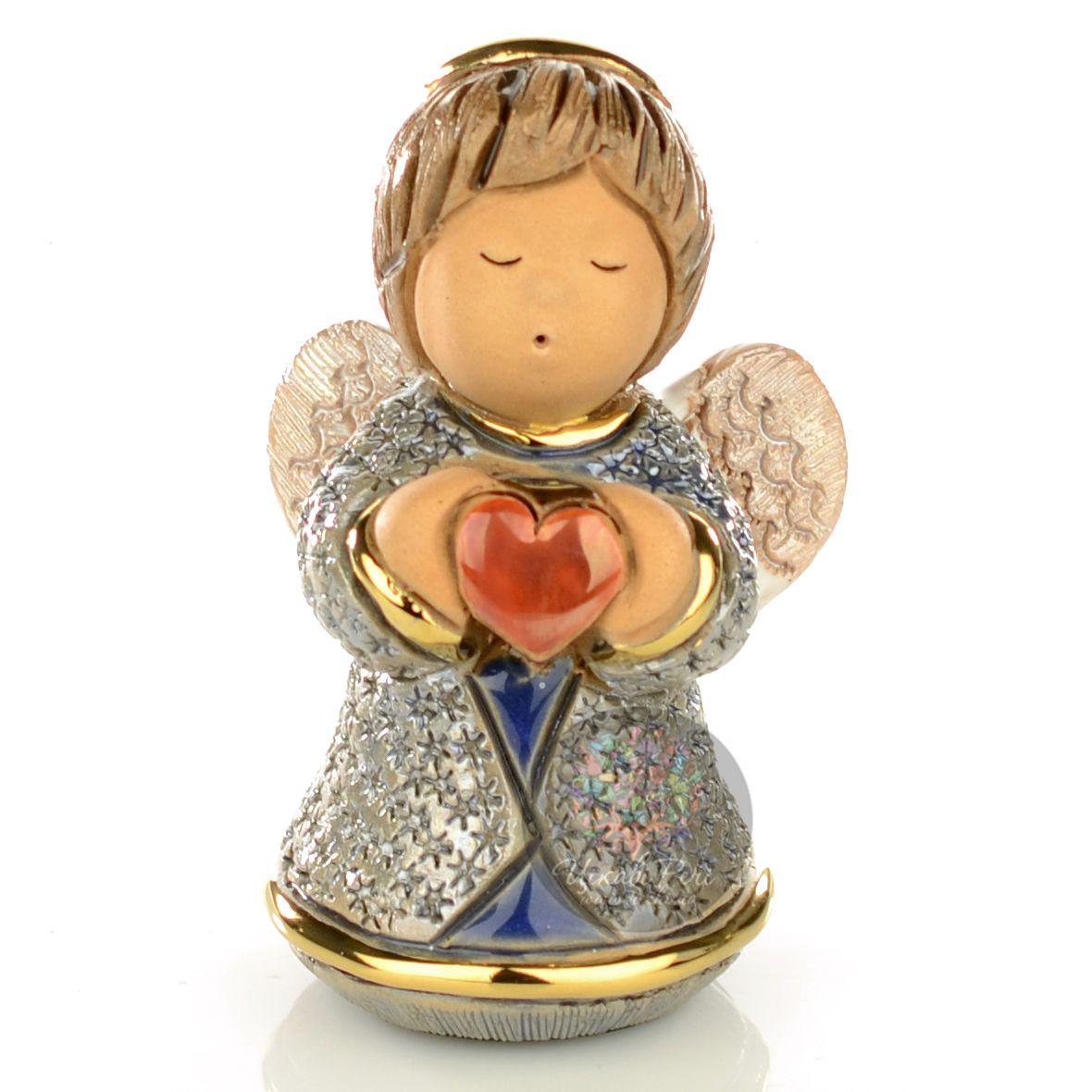 Фигурка De Rosa Rinconada Angels Ангелочек с сердцем синий