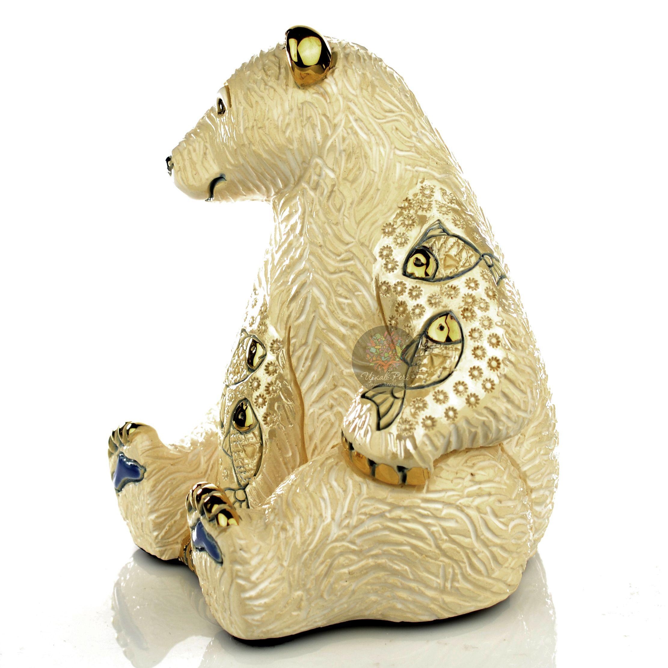 Фигурка De Rosa Rinconada Emerald  Медведь Белый с рыбой