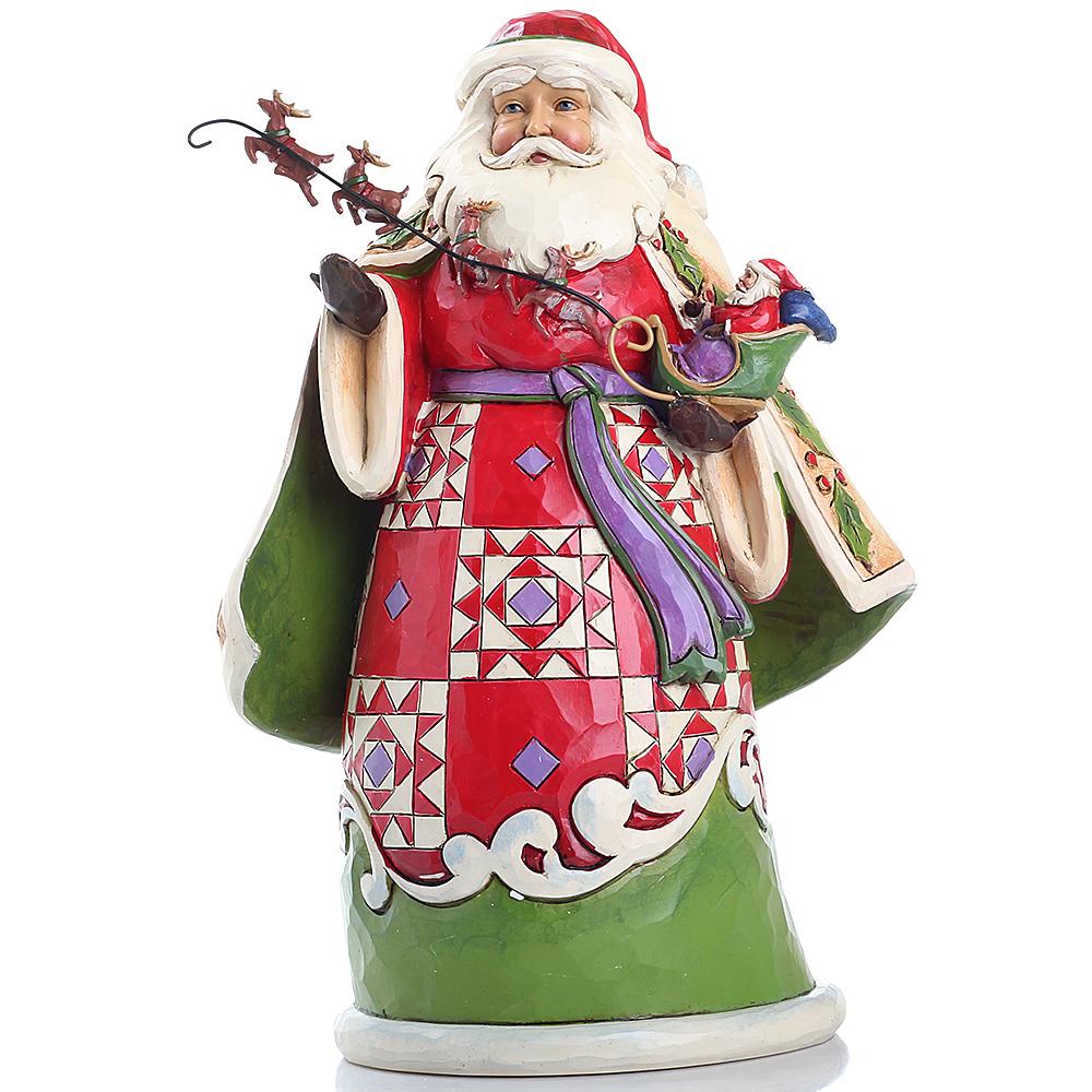 Фигурка Enesco HeartWood Санта с упряжной оленей