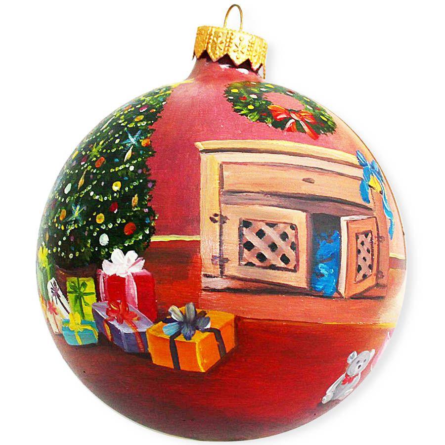 Елочный шар FaVareli Подарочное настроение с ручной росписью