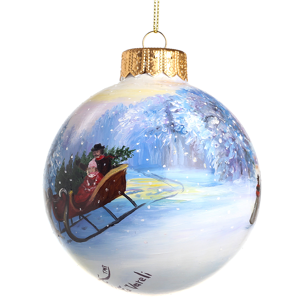 Елочный шар FaVareli Новогодние минутки с ручной росписью