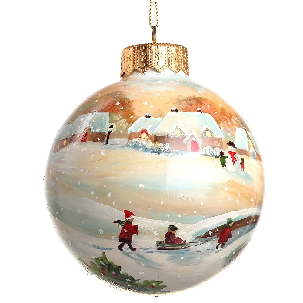 Елочный шар FaVareli Happy Holidays с ручной росписью