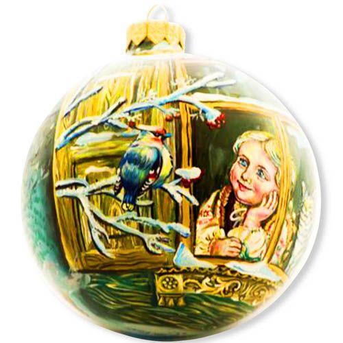 Елочный шар FaVareli Зимнее настроение с ручной росписью