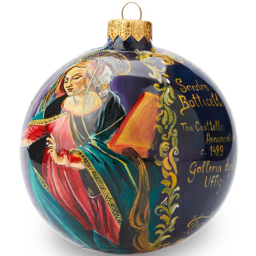Елочный шар FaVareli репродукция картины Ботичелли с ручной росписью