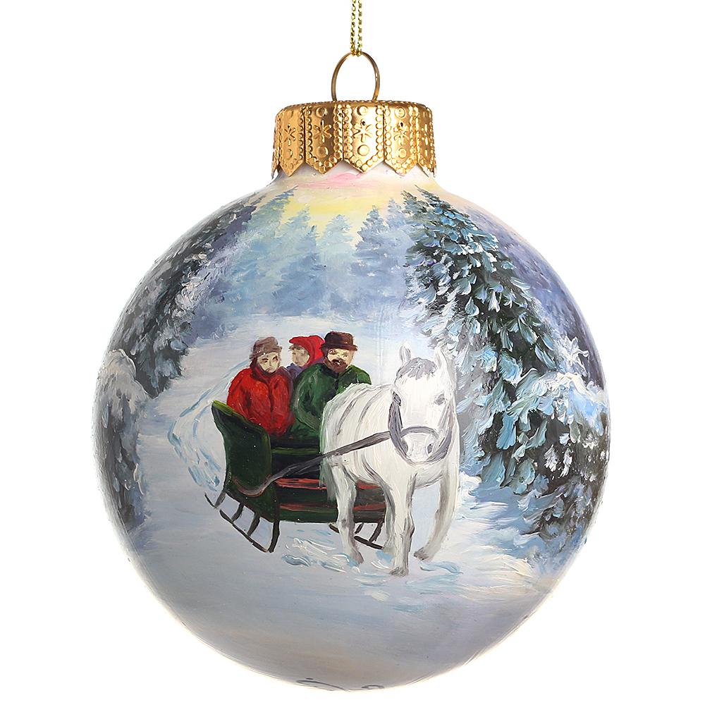 Елочный шар FaVareli Мы спешим на Новый Год с ручной росписью