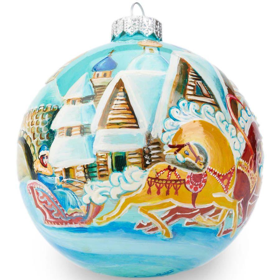 Елочный шар FaVareli Зима в деревне с ручной росписью