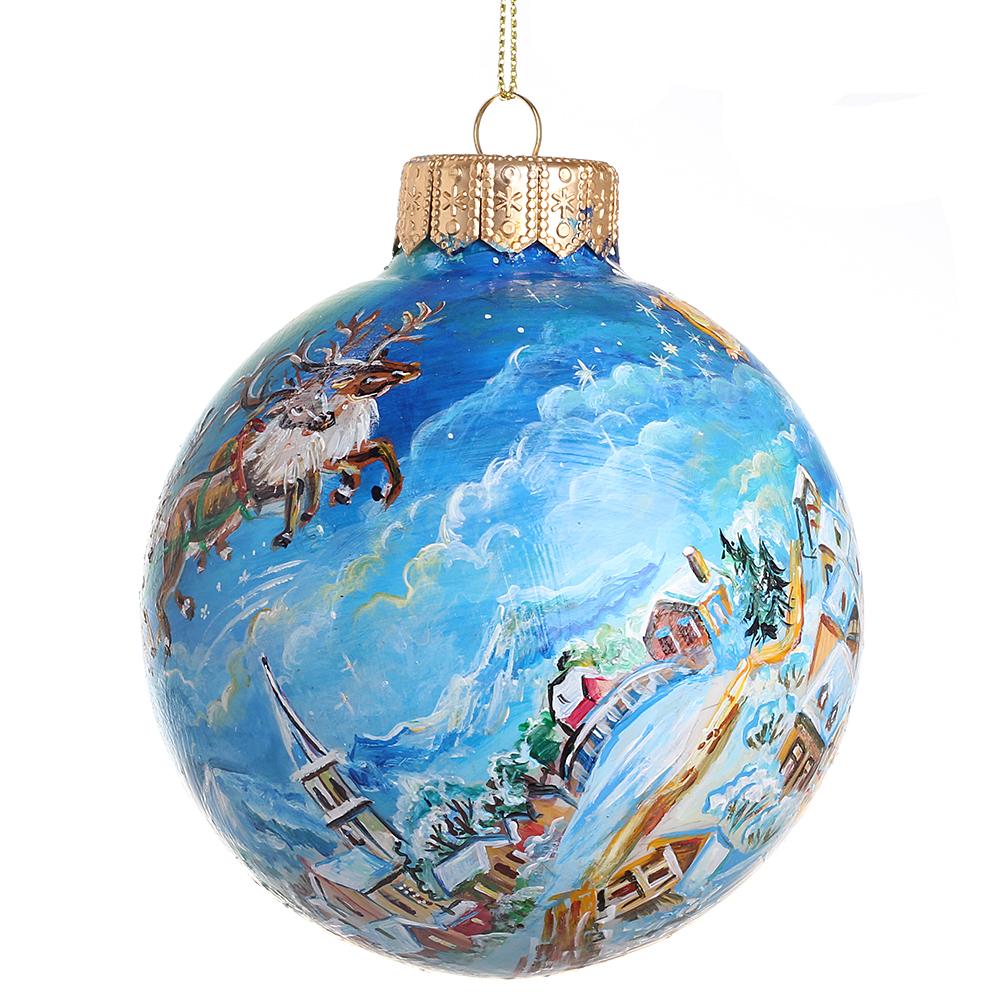 Елочный шар FaVareli Новый год спешит с ручной росписью
