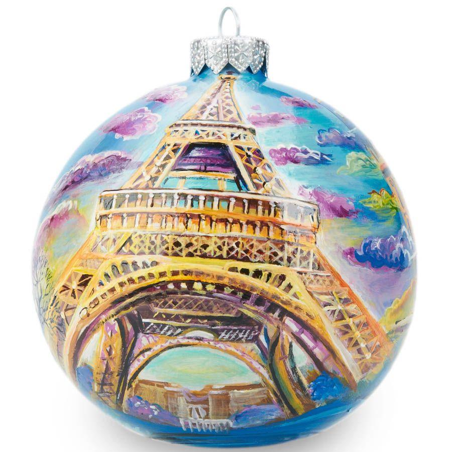 Елочный шар FaVareli Париж с ручной росписью