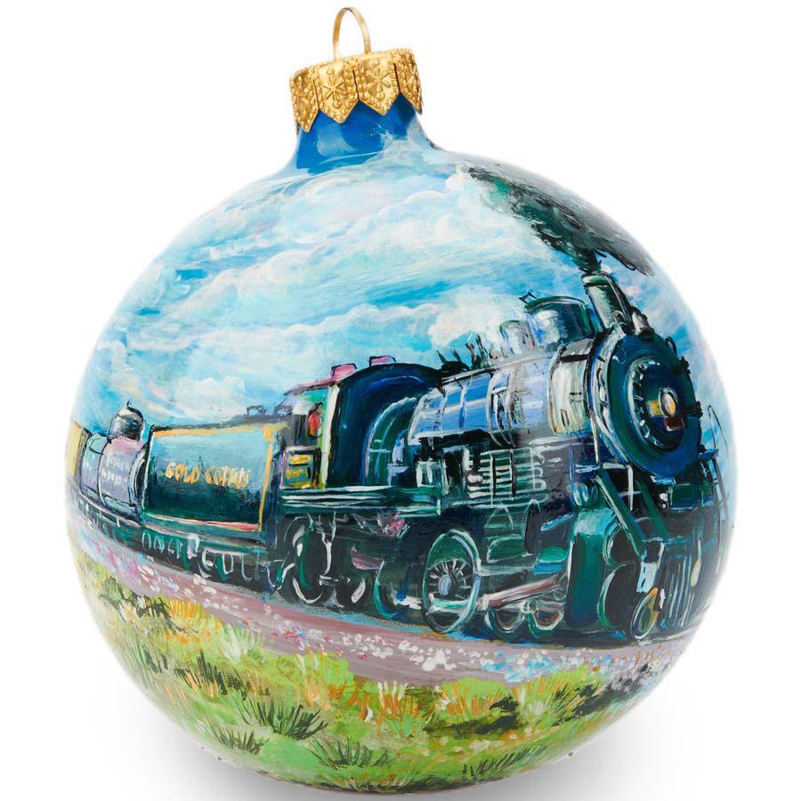Елочный шар FaVareli Паровозы 2 с ручной росписью