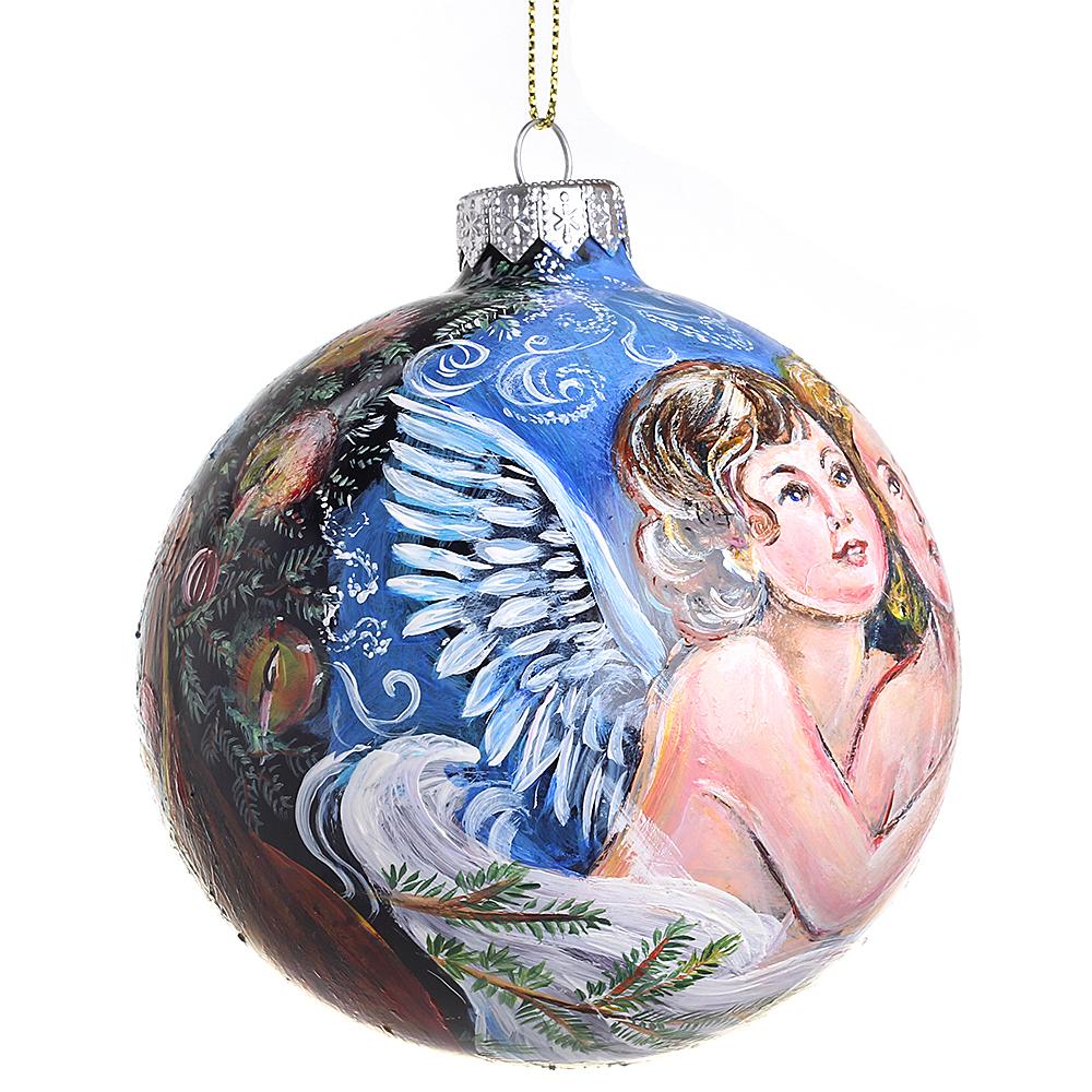 Елочный шар FaVareli Дедушка Мороз и ангелы с ручной росписью